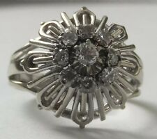 ART Deco 18 KT Oro Diamante Anello Daisy