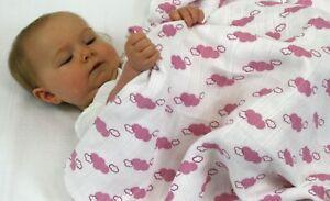 MuslinZ 2 Baby Large Muslin Squares 120cm Bamboo/Organic Cotton Pink Cloud SALE