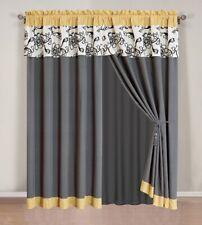 4Pc MODERN Yellow / Black / White / Grey Floral  Window Curtain / Drape Set