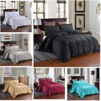 3D Solid Color Satin Duvet Cover Bedding Set Hotel Style Quilt Cover Pillowcase