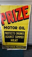 Vintage paper large Prize Motor Oil sign 3' X 5' gas oil advertising