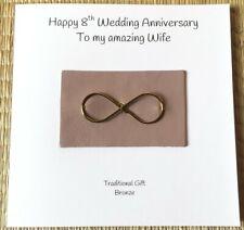 8th Wedding Anniversary Card Bronze Anniversary Bronze Infinity