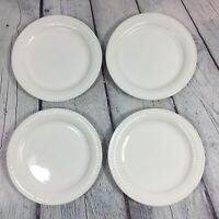 """4 Totally Today Salad Plates White Embossed Bars & Dots - 7"""" / Dinnerware"""
