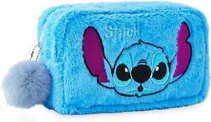 Disney Lilo and Stitch Plush Makeup Bag with Fluffy Pom Pom for Women Or Girls
