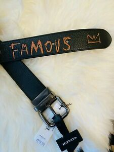 NWT Coach X Jean-Michel Basquiat Jeans Buckle Cut-To-Size Reversible Belt, 38mm