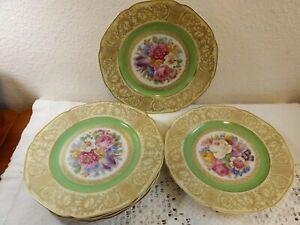 6 TIRSCHENREUTH BAVARIA DRESDEN FLOWERS HEAVY GOLD FILIGREE DINNER PLATES TIR546