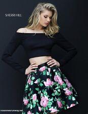 Sherri Hill 50504 Black Rose Print 2 Pc Crop Top Cocktail Dress sz 10