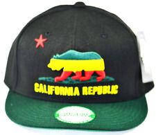 California Republic Snapback-Red Cali Bear-Rasta Black Cap with Green Brim
