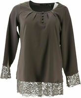 Isaac Mizrahi Live! Satin Blouse with Lace Hem & Cuffs (Gray, 14) A296853