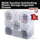 10x HIGH HEEL size Interlocking Strong Plastic Shoe Box Storage Organizer Drawer