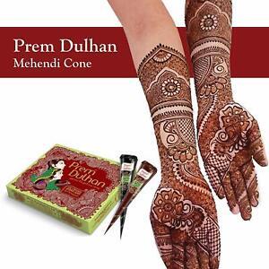 Prem Green Leaf of Natural Henna Dulhan Mehendi 12 Cones Temporary Tattoo Kit