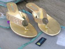 Maggiez CUSTOMIZABLE Dress Flip-Flop Sandal   Metroz Cork / Gold   Size 7M