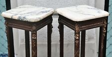 Two statue stands with marble top and well designed wooden legs