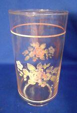 "Pfaltzgraff Tea Rose (4) Glassware Coolers 14 oz Pink bands 5 7/8"" tall"