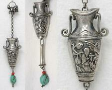 Antique Chinese Repoussé Silver Red Coral Turquoise Needle Case Chatelaine