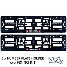 New 2x Honda Number Plate Surrounds Holder Frame for Cars and Fixing Screws