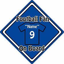 Personalizzata tifoso a bordo auto sign ~ Baby on Board ~ Camicia Blu