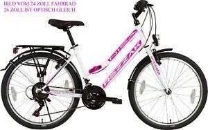 26 Zoll Fahrrad Damen Mädchen Fahrrad city bike 21 Gang shimano Weiss pink  neu