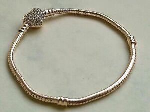 Rose Gold Armband 18 cm mit Pavè Herz - Verschluss für Pandora und andere Charms