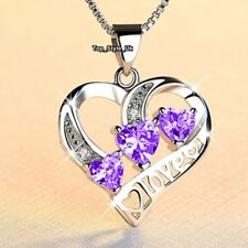 Love Purple Crystal Hearts Silver 925 Necklace Women Birthday Gift for Her J675B