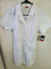 NWT Dickies Women's Button Front Scrubs Dress White Size Small