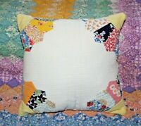 Sweet Throw Pillow Made With Vintage Farmhouse Grandmas Fan Feedsack Quilt #2