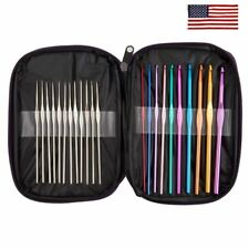 22pcs Mixed Aluminum Handle Crochet Hooks Ergonomic Knitting Knit Needles Weave