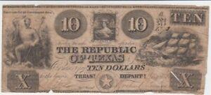 1839-1841 USA / Republic of Texas, 10 Dollars, gebraucht, entwertet  65841