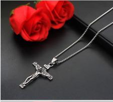 Halskette MIT Anhänger Kreuz Jesus Silber 55cm Kette für Herren Damen Edelstahl