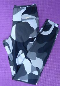 Nike Women's Fitness Yoga Black Grey Camouflage Leggings Size XS