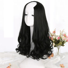 UK Stock Woman Long Curly ''U'' Synthetic Hair Half Wigs Fluffy Middle Part Wigs