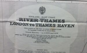 VINTAGE ADMIRALTY CHART 2484 - RIVER THAMES LONDON TO THAMES HAVEN 1934