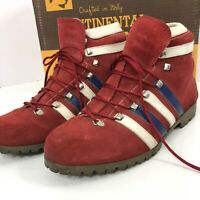 Vintage Hiking Boots Dunhams Tyrolean Italy Red Suede Size 11 Womens Vibram