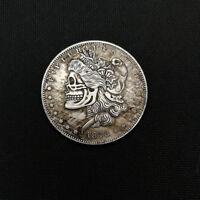 Fantasy Coin US Morgan Dollar Skull Zombie Skeleton Hand Silver Plated