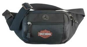 Harley-Davidson Orange Patch Bar & Shield Logo Crossbody / Waistpack Bag - Black