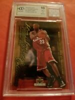 LEBRON JAMES Rookie CARD #45 GRADED BECKETT 10 & GAME USED JERSEY PIECE LAKERS