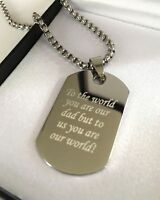 Mens Personalised Chunky Steel T Bar Chain Necklace Engraved Dog Tag, Xmas Gift