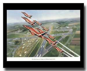 Hawker Siddeley Hawk fighters Red Arrows display framed picture Wilf Hardy