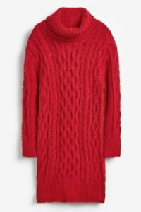 Next Girl's Red dress chunky Cable knit Jumper Long Thick Warm BNWT 7 Years