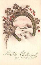 BG8737 horseshoe clover mistletoe  neujahr new year greetings germany
