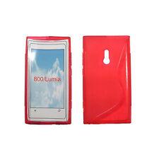 Gummi, Silikonhülle für Nokia Lumia 800, Rot, Hülle, Silikon, Gummihülle, Neu