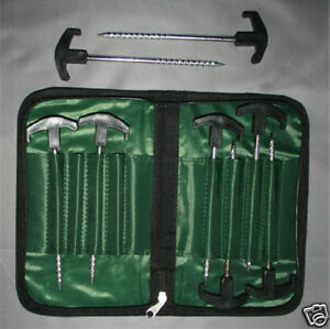 Bivvy / tent pegs x8 carp pike fishing with carry case