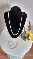 "Sale! 925 Silver No Stone 4mm 24"" Necklace & 8"" Bracelet Set, Birthday Xmas Gift"