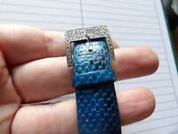 FULLY HALLMARKED 9 CARAT WHITE GOLD & DIAMOND BLUE LEATHER BUCKLE BRACELET