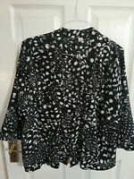 H&M WOMENS BLACK WHITE OPEN POLYESTER BLOUSE TOP SIZE 12 LENGTH 28 - 3/4 SLEEVE