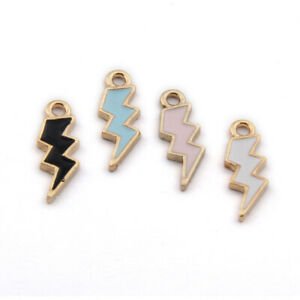 20pc Enamel Lightning Ornaments Accessories Natural Pendant Colorful Charms 1354