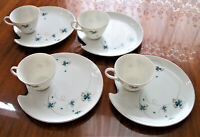 Grantcrest China Tea Cup & original shape Snack Plate/saucer (Set of 4)  Japan