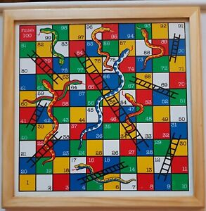 Wooden Snakes and Ladders Board Game Traditional In Like New Condition