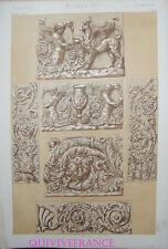 LITHOGRAVURE Owen JONES - GRAMMAIRE DE L'ORNEMENT 1868 Planche XXVI - ROMAINS