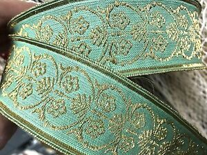"""Vintage Antique Cotton Silk 1.5"""" Green Gold 1yd Made in France"""